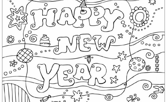 Happy New Year Colouring