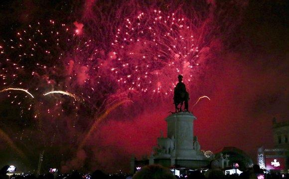 PORTUGAL: Fireworks explode