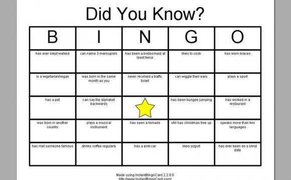 Bingo template game