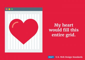 A heart superimposed over the draft web standards grid
