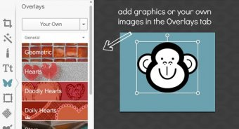 Add overlays in Design,  just like you would to a photo.