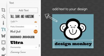 Add text to a canvas in PicMonke's Design tool.