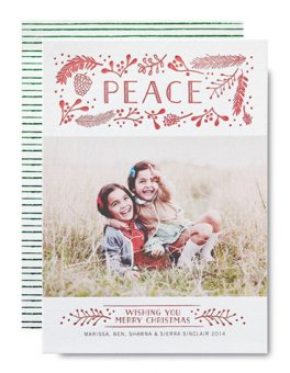 Affordable white red letterpress Christmas photo card