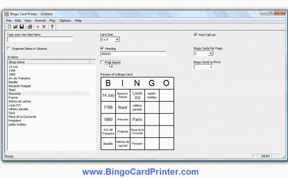 Create Bingo cards