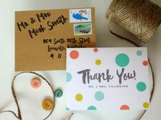 bright polka dot thank you card for wedding gift