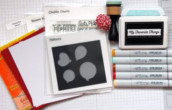 Collection of supplies for chick card