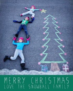 Creative holiday photo cards: Chalk drawing by Brooke Elggren Snowball