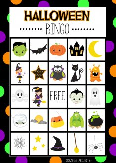 Free Printable Halloween Bingo Cards by Crazy Little Projects