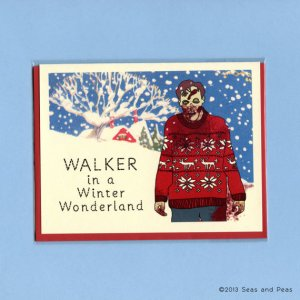 Funny holiday cards Zombie Walker in a Winter Wonderland | Seas and Peas
