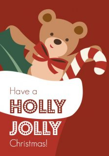 Graphic holiday card with overlays of a teddy bear and candy cane in a stocking.
