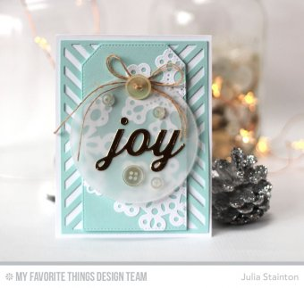 Handmade card from Julia Stainton featuring Peace, Love, Joy Die-namics