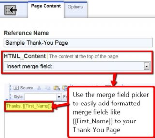 Image: Adding a merge field to the text of your thank-you page