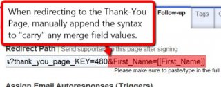 Image: Passing a merge field value through the redirect path to a Thank-You Page