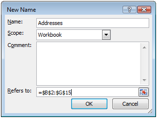 In the New Name dialog, type the name Addresses and the range of cells your addresses are in ($B:$G in this case)