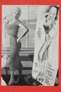 Jayne Mansfield needed no manger in her Christmas card message. The only sign of the season was the red border.
