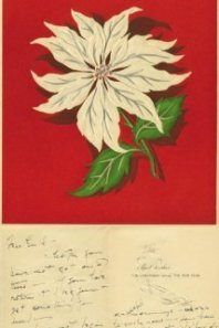 Katherine Hepburn also sent out a strikingly independent poinsettia flower Christmas card. (liveauctionworld.com)
