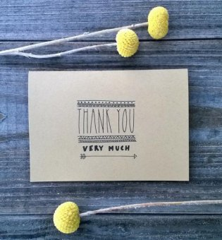 modern wedding thank you card with an illustrated arrow