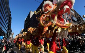 Performers play the dragon dance during the Chinese New Year parade