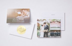 photo wedding thank you card and photo thank you post card with envelope and gold sticker