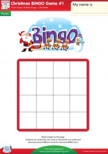 Practice Christmas and winter vocabulary with these make-your-own Bingo cards from Super Simple Learning. #kindergarten #earlyelementary #ESL