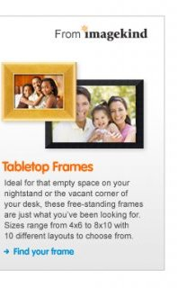 Tabletop Frames from imagekind These free standing frames are ideal for any space