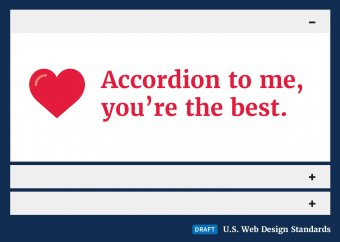 The draft web standards accordion with a valentines message exposed.