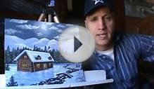 How To Paint Christmas Card Mountain Cabin Snow New Year