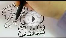 Make New Year Cards Draw Bubble Letters