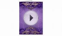 Thank You Card Wedding Antique Verdigris Purple Br