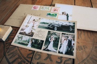 wedding photo collage thank you card