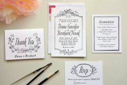 white wedding invitations with black type
