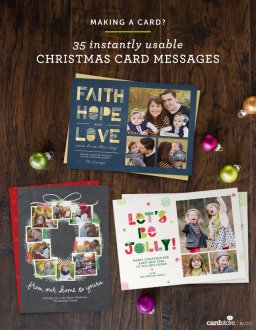 Wondering what to write on the inside of your Christmas card? Here are 35 Christmas card messages, to go with any design.