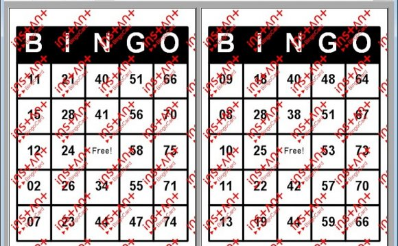 Pictures of a Bingo cards